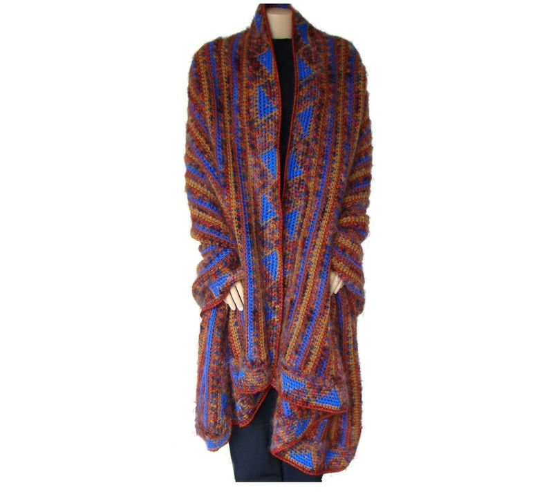 Woman's Plus Size Wrap, Crochet Shawl, Winter Wrap, Southwestern Style Evening Wrap