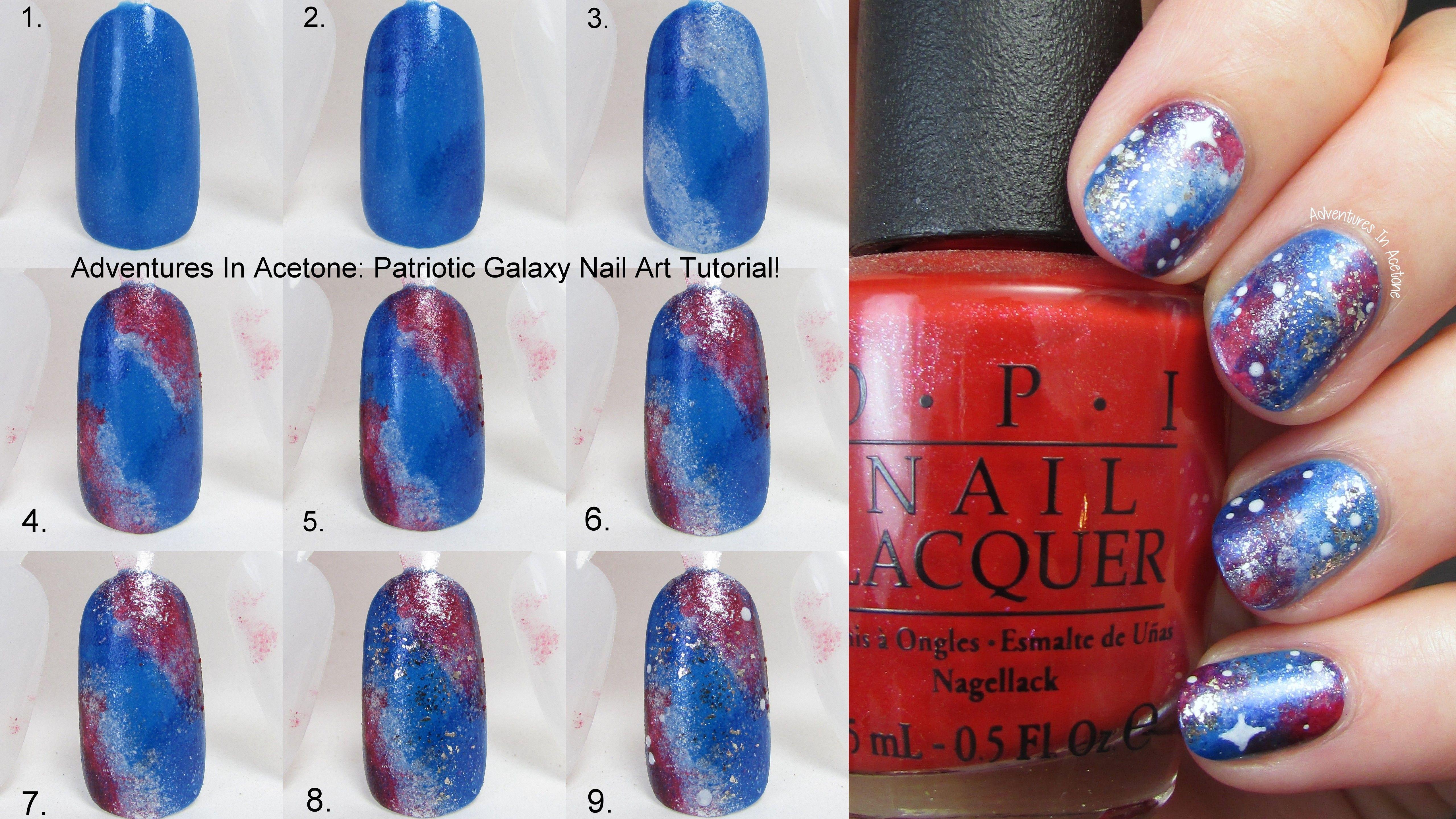 Fourth of July Patriotic Galaxy Nail Art Tutorial   NailArt ...