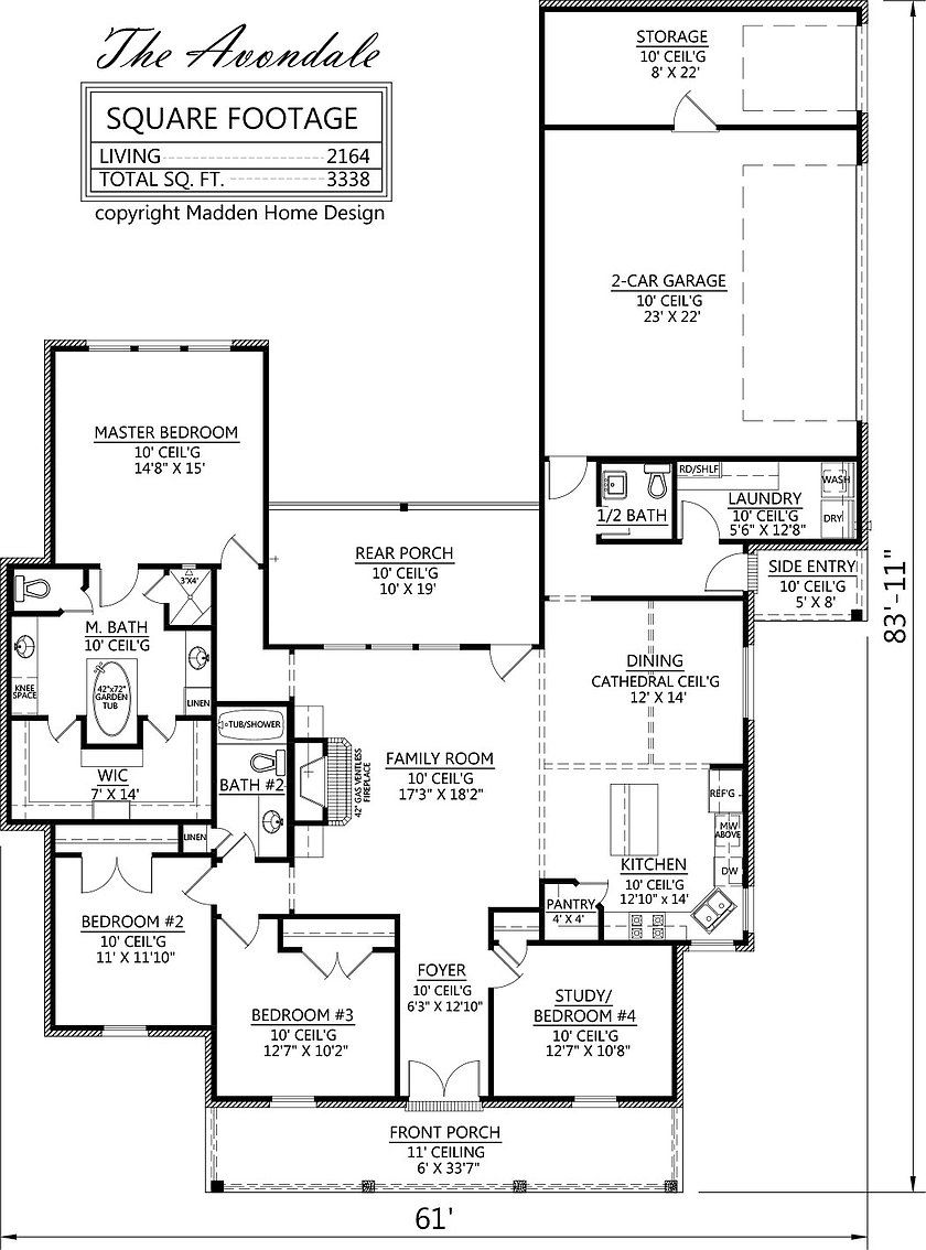 Acadian Style House Plan, The Avondale, Madden Home Design, 4 Bedrooms, 2