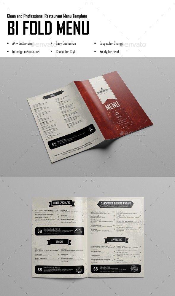 Bi Fold Menu InDesign Template Restaurant Menu Clean Modern - Indesign restaurant menu template