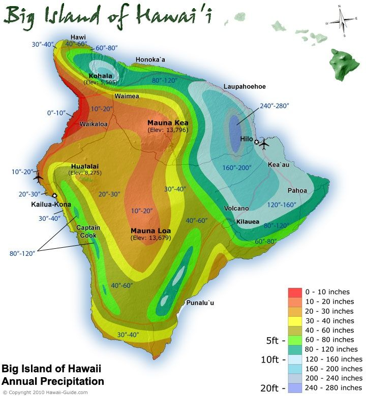 Average annual rainfall on Big Island of Hawaii [720x780 ...