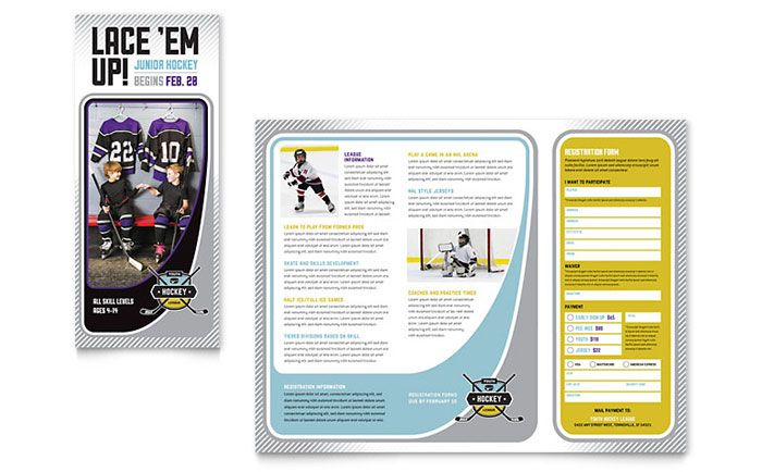 Brochure template for a kids ice hockey league Design by - Gym Brochure Templates
