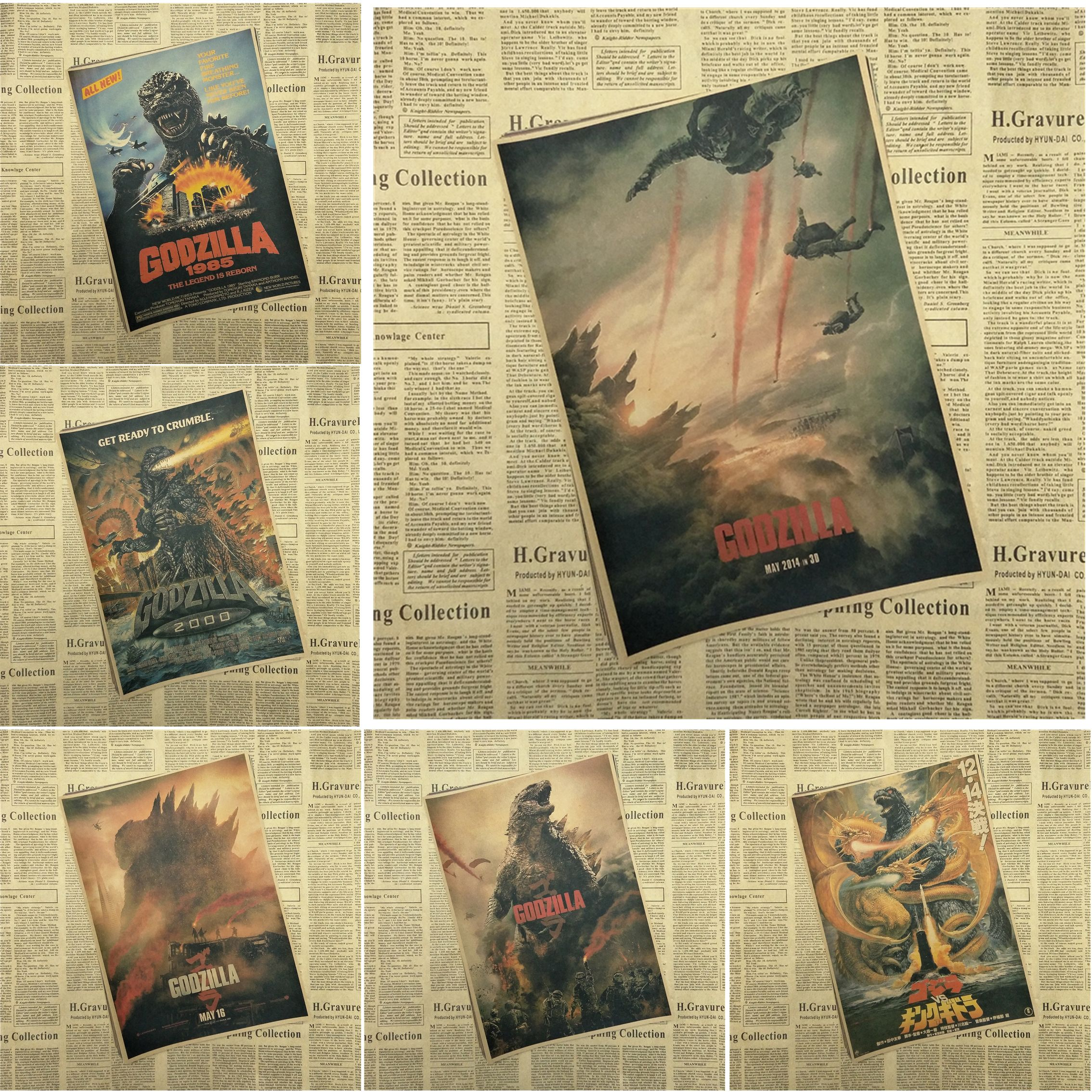 Godzilla Classic Movie Kraft Paper Poster Bar Cafe Living Room ...