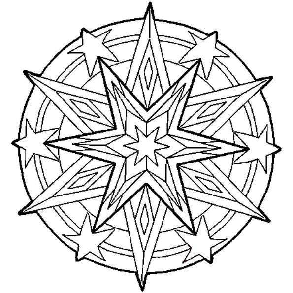 Coloriage Etoile Et Coeur.Le Dessin Du Mandala Represente Une Etoile Colorie Le Coeur