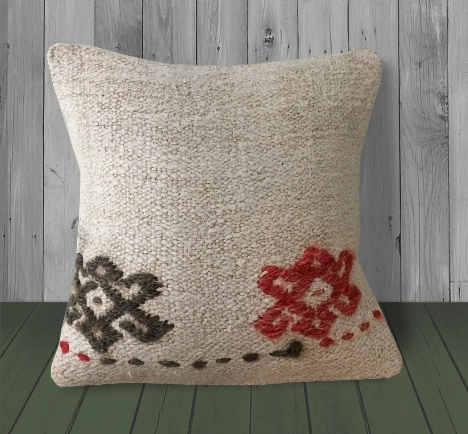 Cream Red Gray Small Couch Pillowcase 12x12 Turkish Kilim Pillow Cover Decorative Pillow Sofa Living Room Decor Pillow Bohemian Cushion Cream Red Gray S