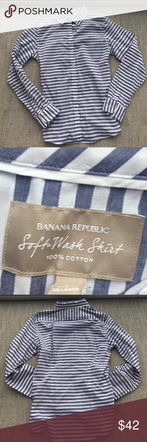 "Banana Republic Striped Button Down Banana Republic Striped Button Down; Blue and White; Front Button Closure; Button Closure at Cuffs; 100% Cotton; Machine Wash; Approx. Measurements: Length: 27"", Bust: 20""; Excellent Condition Banana Republic Tops Button Down Shirts"