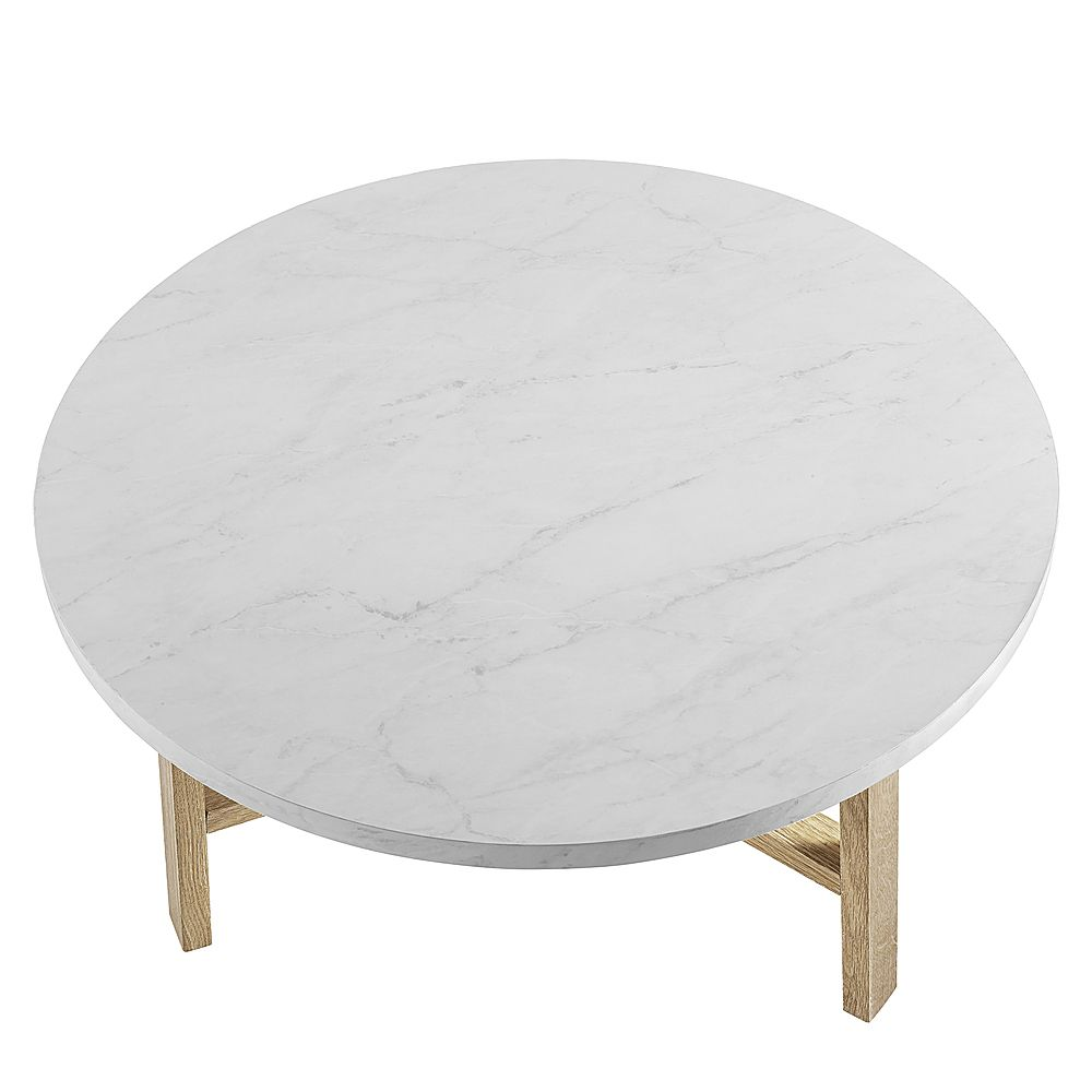 Walker Edison 30 Round Coffee Table White Marble Light Oak White Round Coffee Table Round Coffee Table Stylish Coffee Table