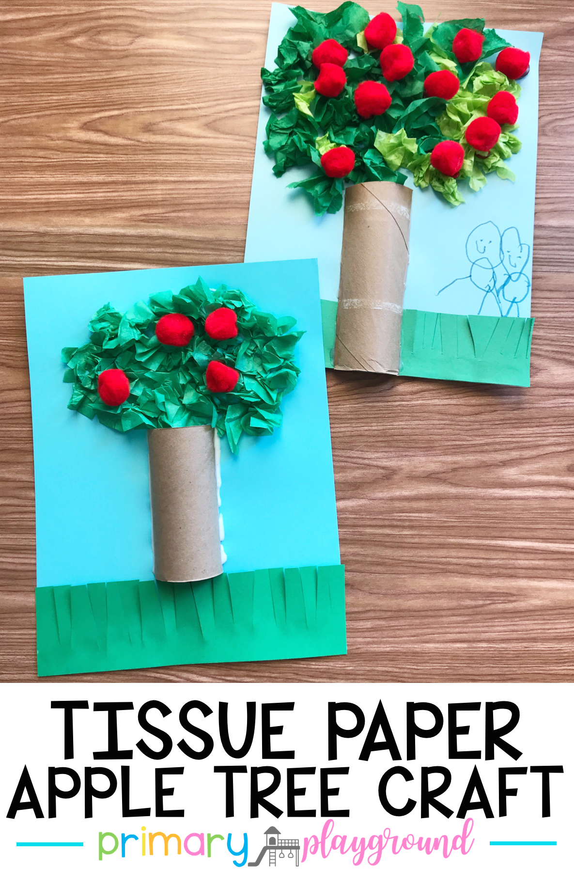 Tissue Paper Apple Tree Craft Applecraft Appletreecraft