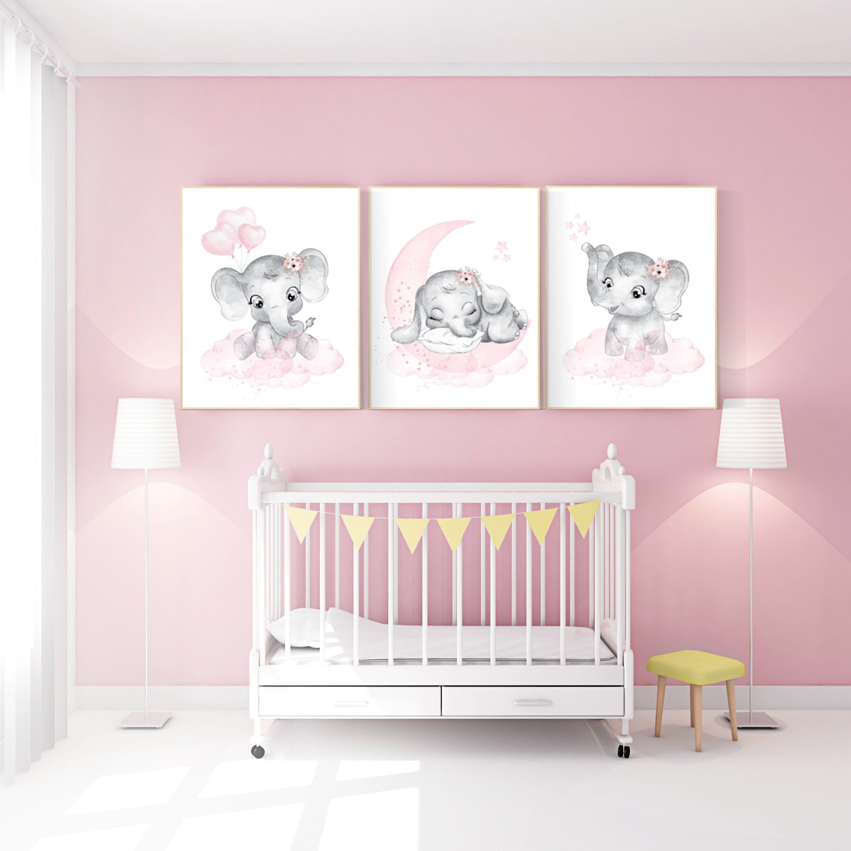 KindergartenWandkunst Mädchen Elefant, rosa und grau