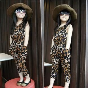 2013 baby girls brown leopard print clothing kids short sleeve overalls toddlers fashion summer clothes free shipping  $30.74
