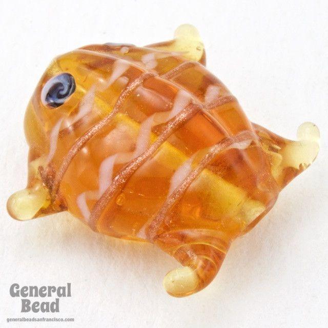 20mm Topaz Lampwork Frog Bead