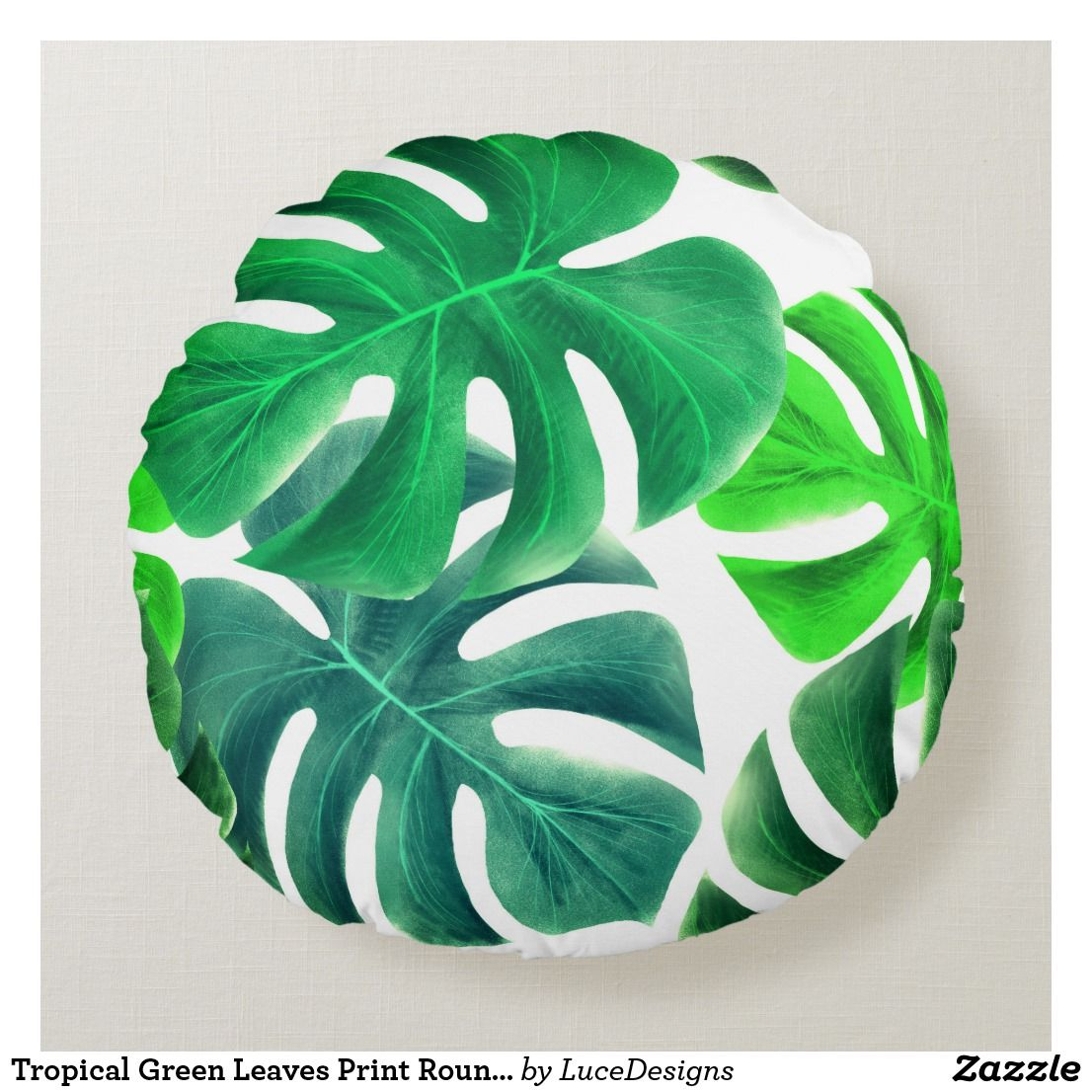 Tropical Green Leaves Print Round Pillow