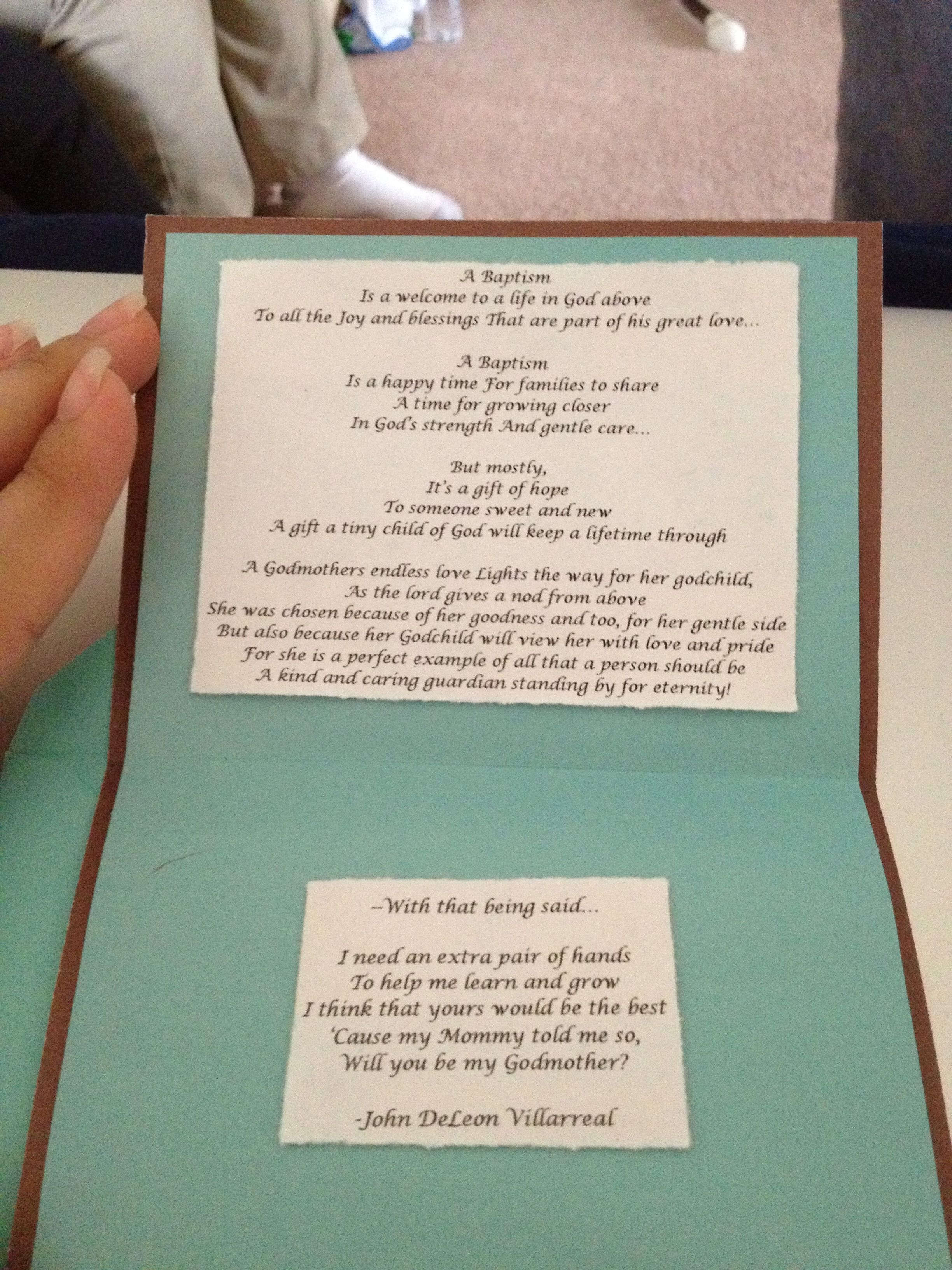 Godmother quotes funny quotesgram - How To Ask Someone To Be Godmother Homemade Card With Poem