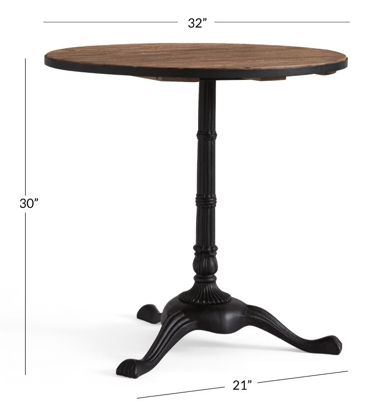 Rae Round Pedestal Bistro Table Metal Dining Chairs