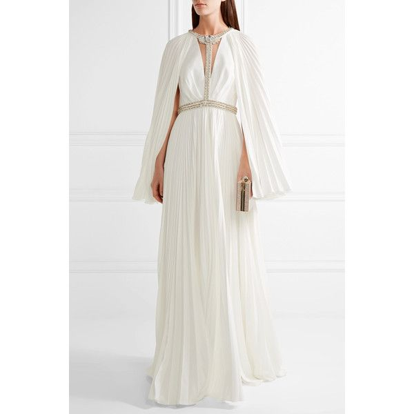 Jenny Packham Woman Cape-effect Embellished Plissé Crepe De Chine Gown Ivory Size 12 Jenny Packham For Sale Sale Online Discount Prices Cheap Price In China Clearance Footlocker Pictures Cheap With Paypal kxM3gi