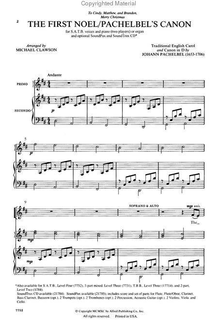 The First Noel / Pachelbel\u0027s Canon MUSIC-----Piano Sheet Music in
