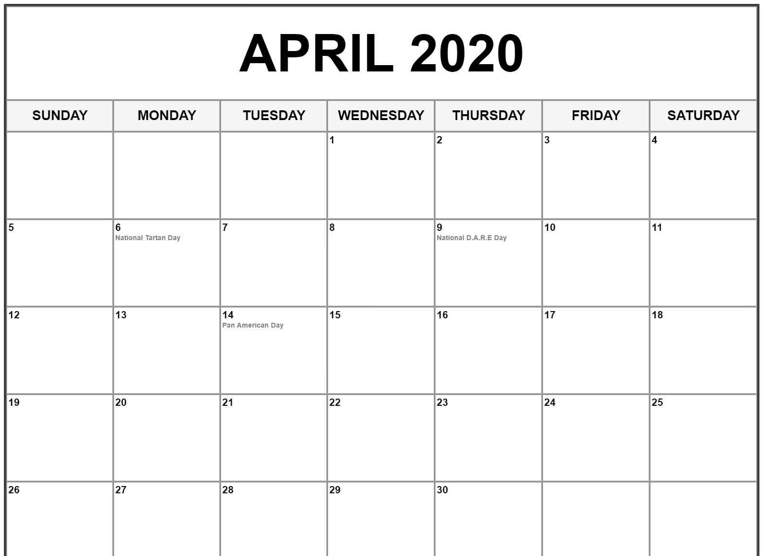 Calendar 2020 April Printable Monthly Template In 2020