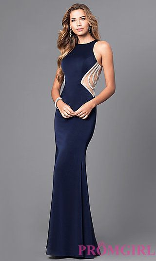 8a3f8933d0d Long Racerback Prom Dress with Embellished Illusion at PromGirl.com