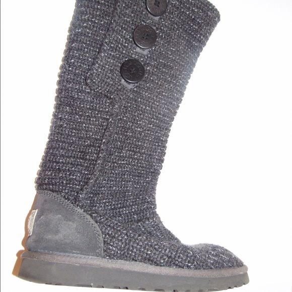Knit Ugg Boots Gray with silver sweater knit material. Worn but still good quality.