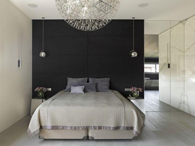 kleines schlafzimmer akzentwand schwarz spiegelwand ...