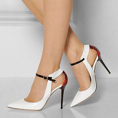 [$44.99] Mujer Zapatos PU Primavera Otoño Zapatos del club Tacones Tacón  Stiletto Dedo Puntiagudo Hebilla para Vestido Fiesta y Noche Blanco
