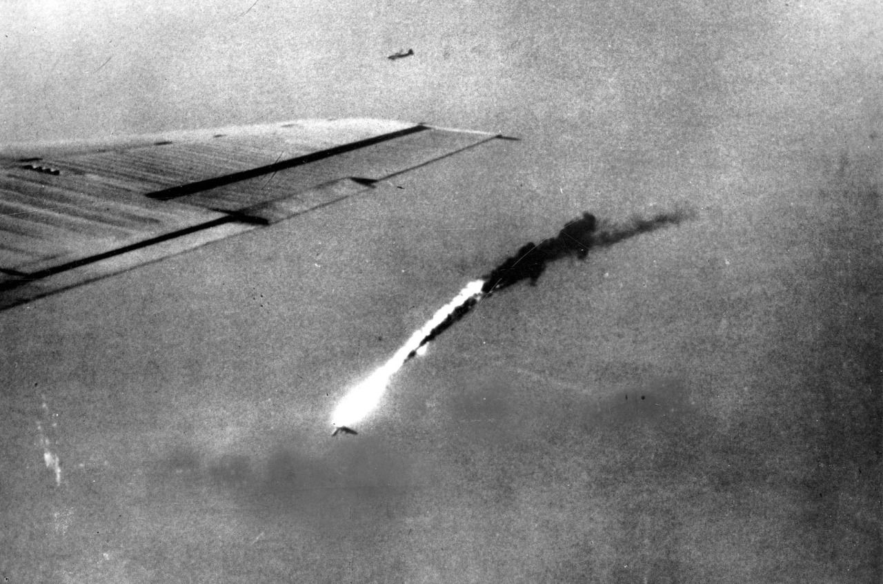 A B-29 falls in flames after a direct hit by an anti-aircraft shell over Japan.