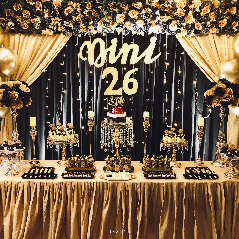 The Classic Black Gold Scrumptious Dessert Table Gold Dessert Table Gold Dessert Vintage Dessert Tables