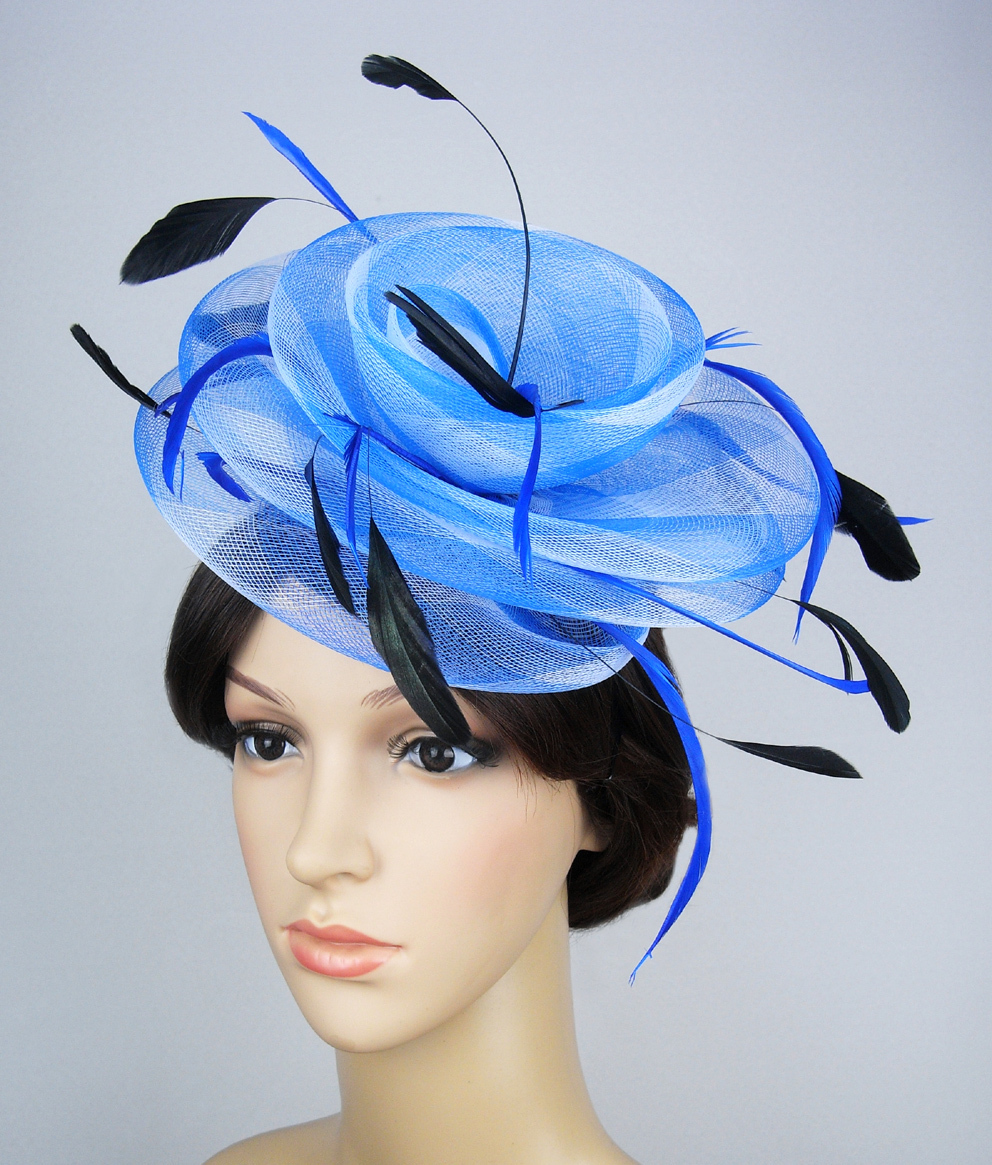 26.99$  Watch now - http://viyyp.justgood.pw/vig/item.php?t=htq1wwa37701 - Handmade Vintage Blue Hat Feather Race Party Wedding Fascinator Hair Accessory 26.99$
