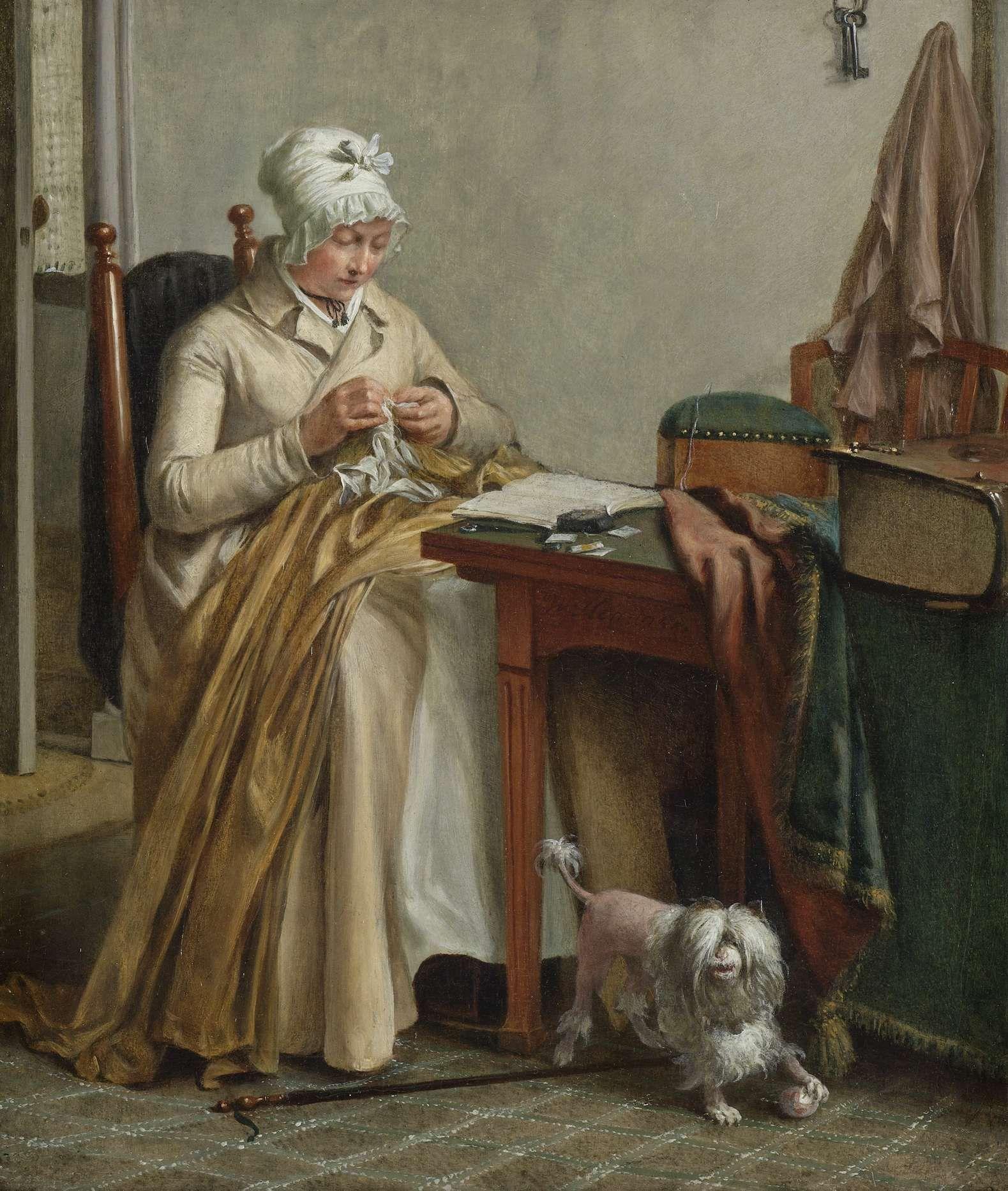 Interieur met naaiende vrouw, Wybrand Hendriks, ca. 1800 - ca. 1810