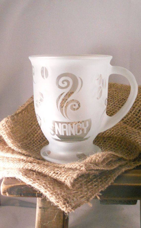Personalized Coffee Mug Custom Etched 16 oz by BeedazzledDesigns