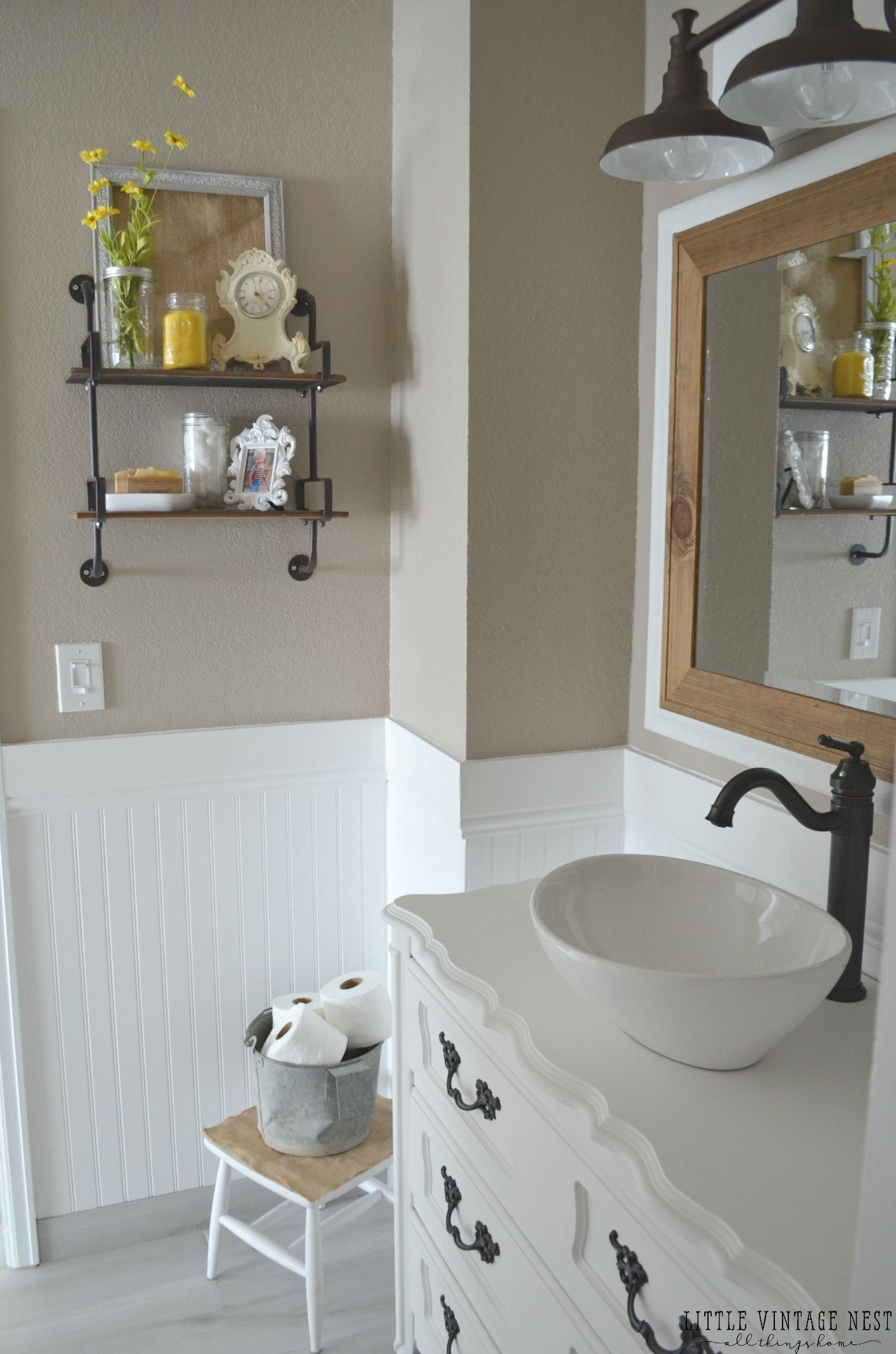 Paint Color Which Is Smokestack By Behr Farmhouse Master Bathroom Makeover Bathroom Farmhouse Style Master Bathroom Makeover Traditional Bathroom