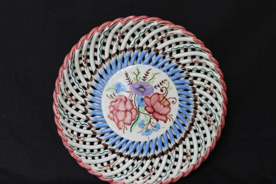 Vintage Spanish hand woven pottery plate, hand painted decorative dish