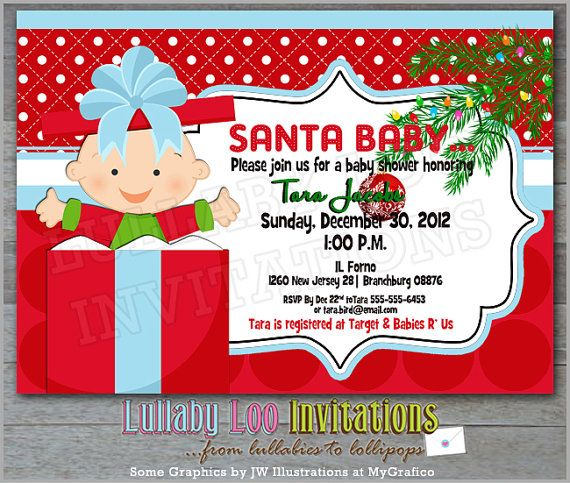 Christmas Baby Shower Invitations Product No 307 Santa