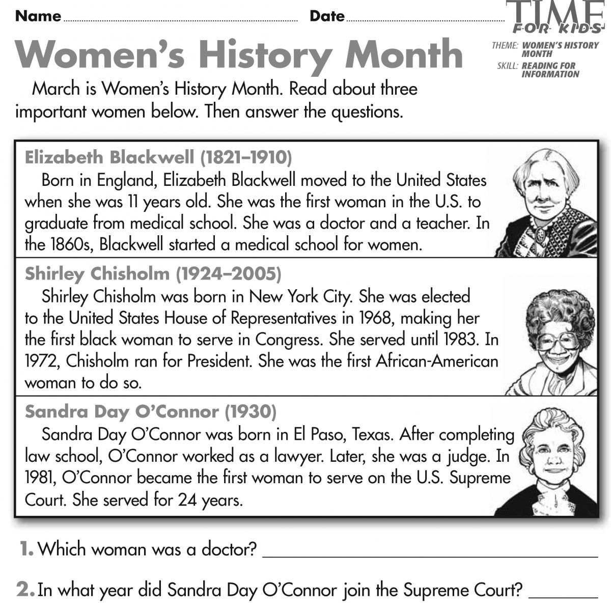 Women's History Month Printables   TIME For Kids   Womens history month [ 1200 x 1200 Pixel ]