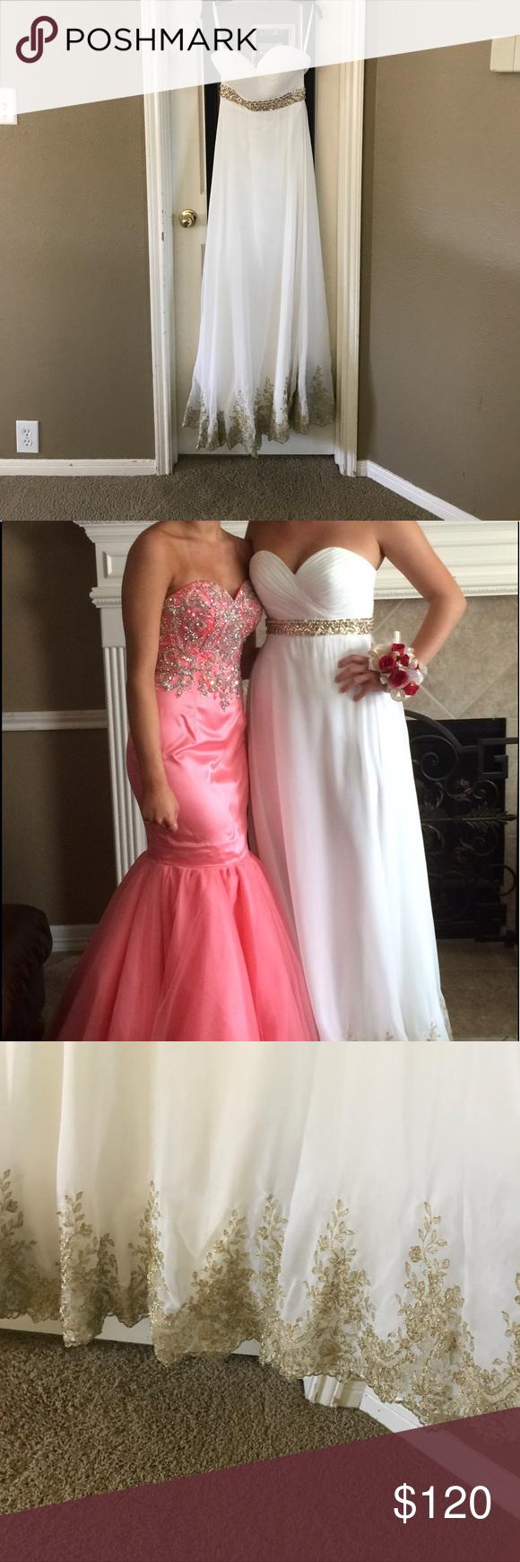 White u gold prom dress