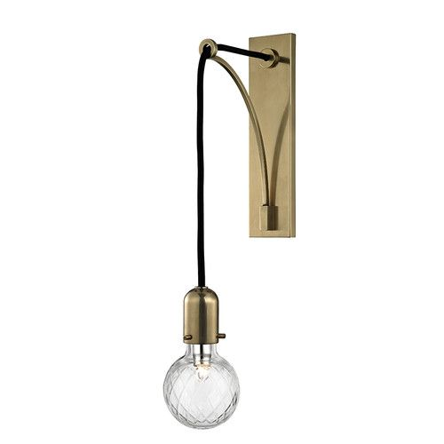 Hudson valley lighting 1101 marlow 1 light tall wall sconce with glass shade aged brass indoor lighting wall sconces