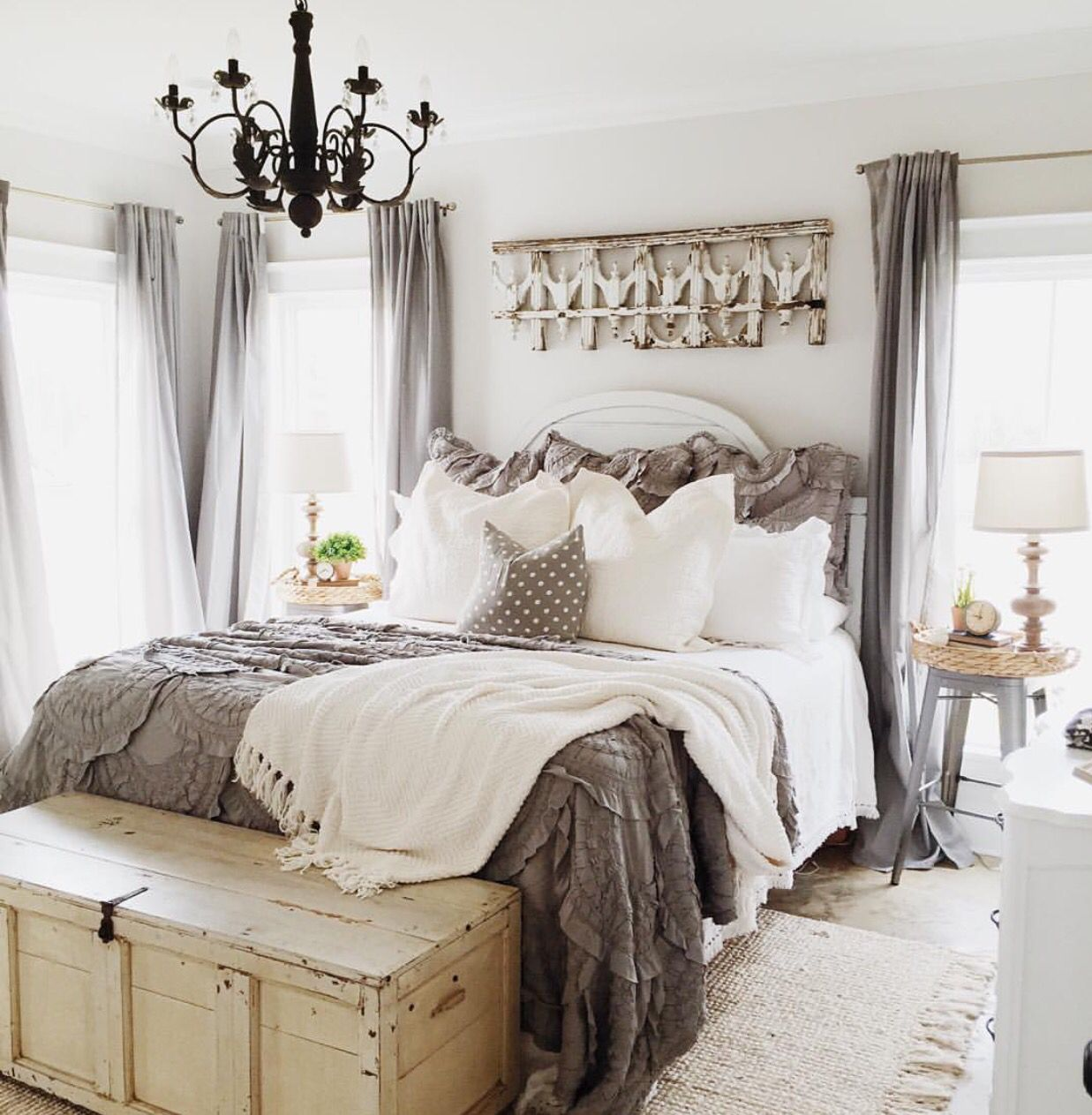 Farmhouse Bedroom Style. Love the Grey Bedspread