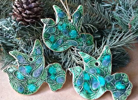 THREE Doves Ceramic Christmas Ornaments Peacock color by dgordon