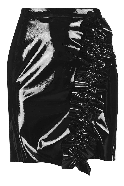 f9532406d66598 Ruffle Vinyl Mini Skirt in 2019   BLACK SKIRT   Vinyl mini skirt ...