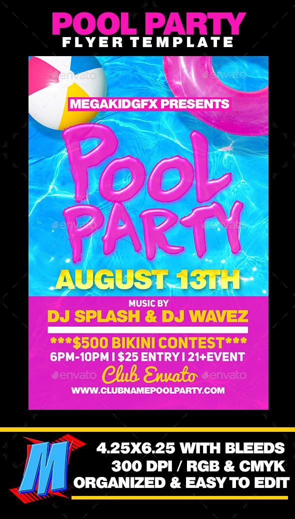Pool Party Flyer Template  Party Flyer Flyer Template And Font Logo