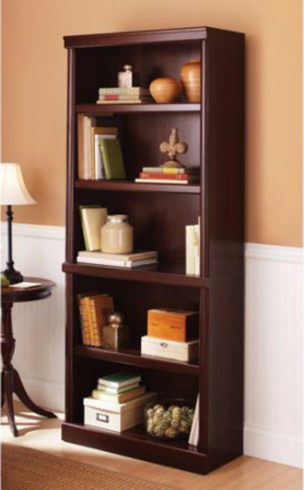 Bookshelf 5 Shelf Bookcase Storage Office Furniture Adjustable Shelves  Cherry
