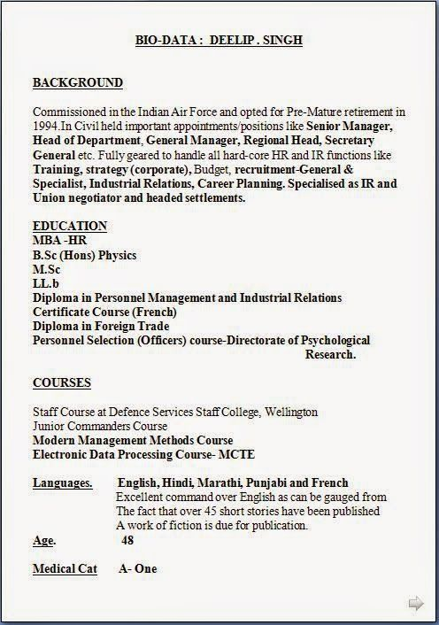 free samples of resume Sample Template Example ofExcellent CV - indian resume format for freshers