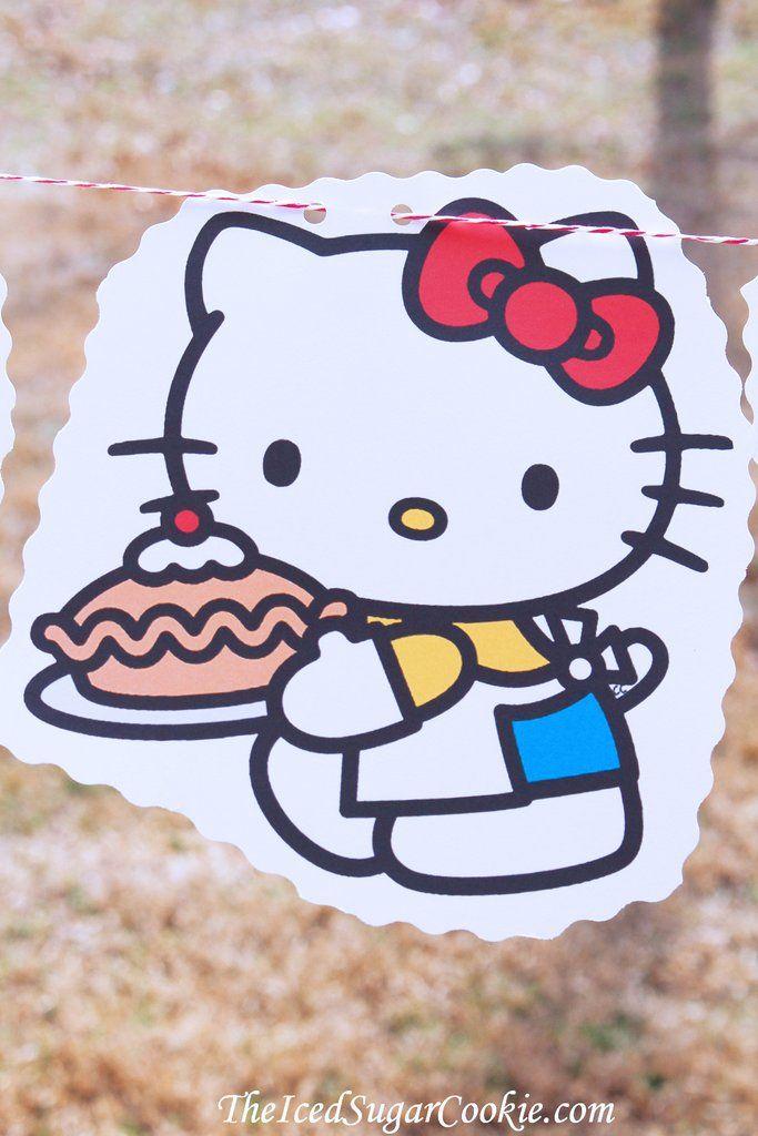 Hello Kitty Birthday Party DIY Idea Flag Bunting Banner ...