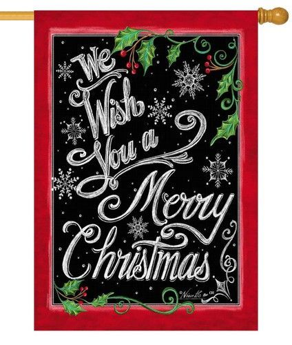 Chalkboard Merry Christmas House Flag Christmas Garden Flag Merry Christmas Garden Flag Chalkboard Merry Christmas