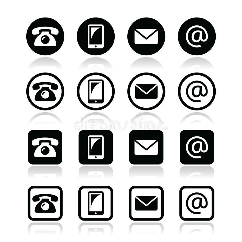 Contact iconsin circle and square set mobile, phone