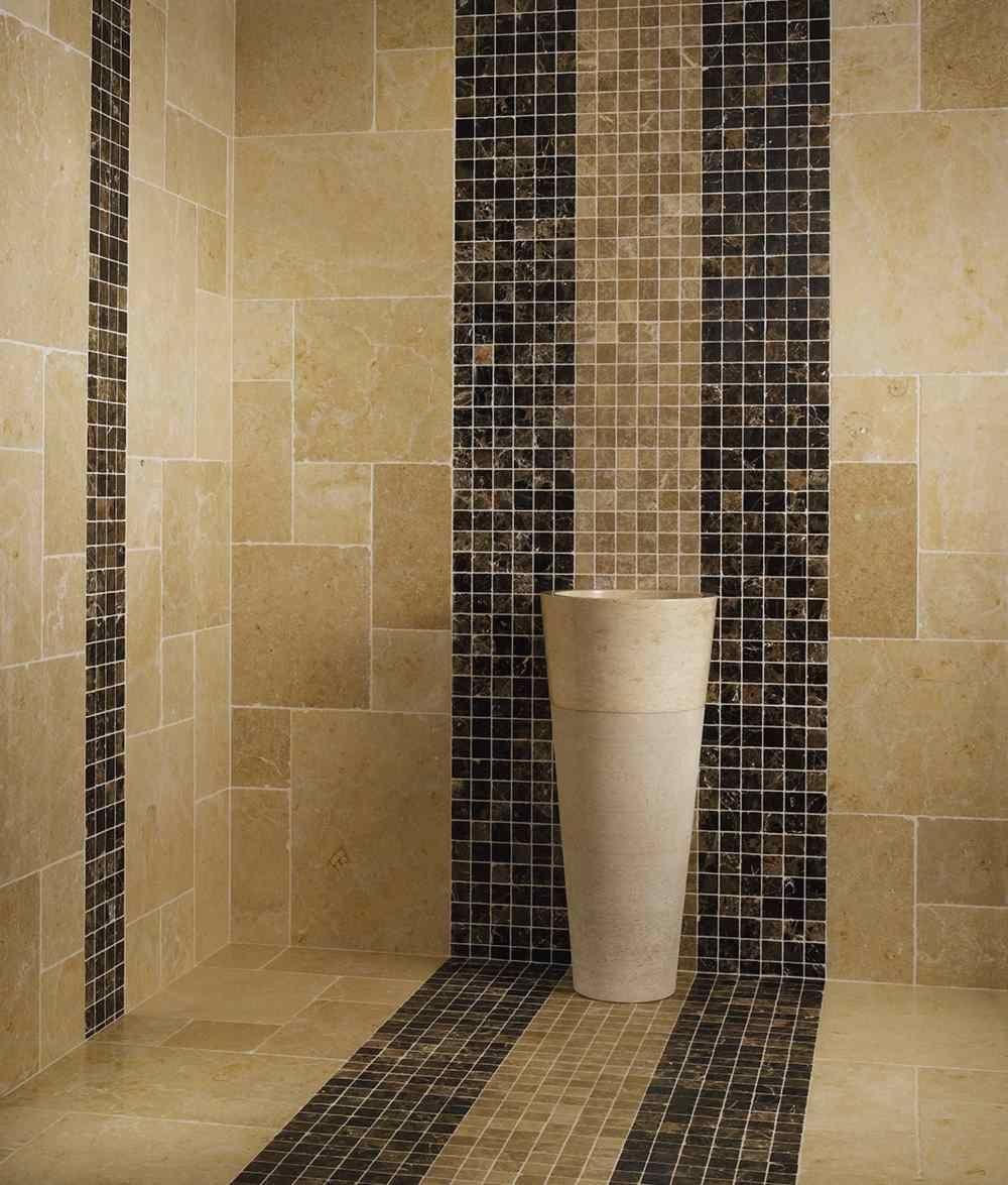 Mosaiques Marbre Brun Et Beige Salle De Bains Design Carrelage Salle De Bain Travertin Salle De Bain Design