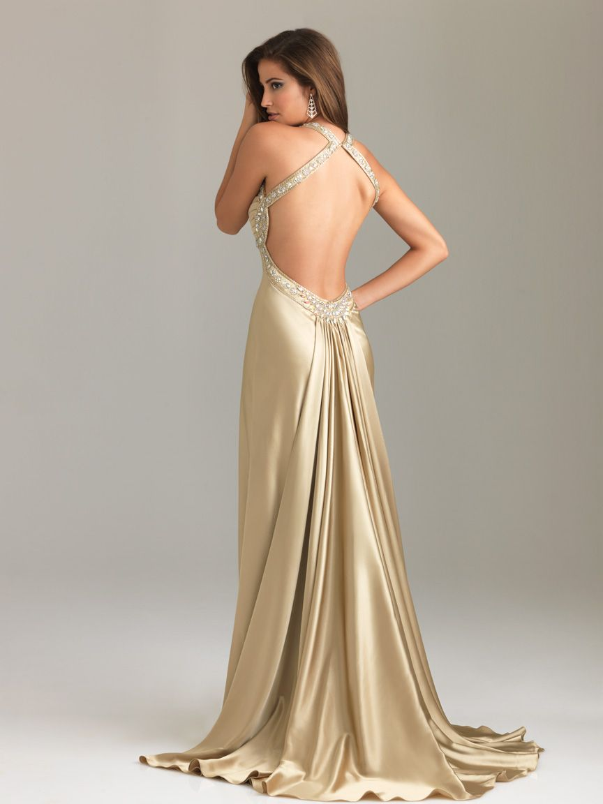 Cheap Gold Column Halter and Sweetheart Backless Sweep Train Floor
