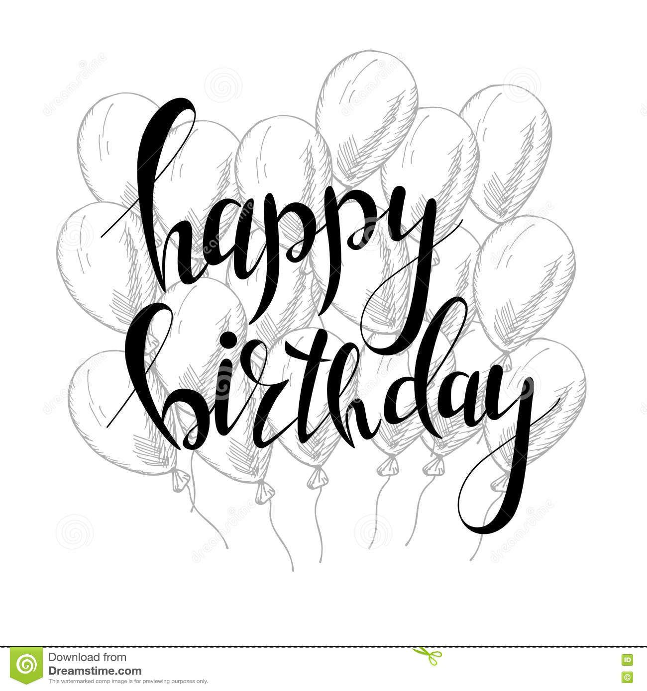 Vector hand lettering happy birthday greeting card with calligraphy happy birthday greeting card with calligraphy design black and white overlay download from over 52 million high quality stock photos images vectors m4hsunfo Gallery