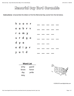 memorial day word scramble with a map of the united states 4 levels