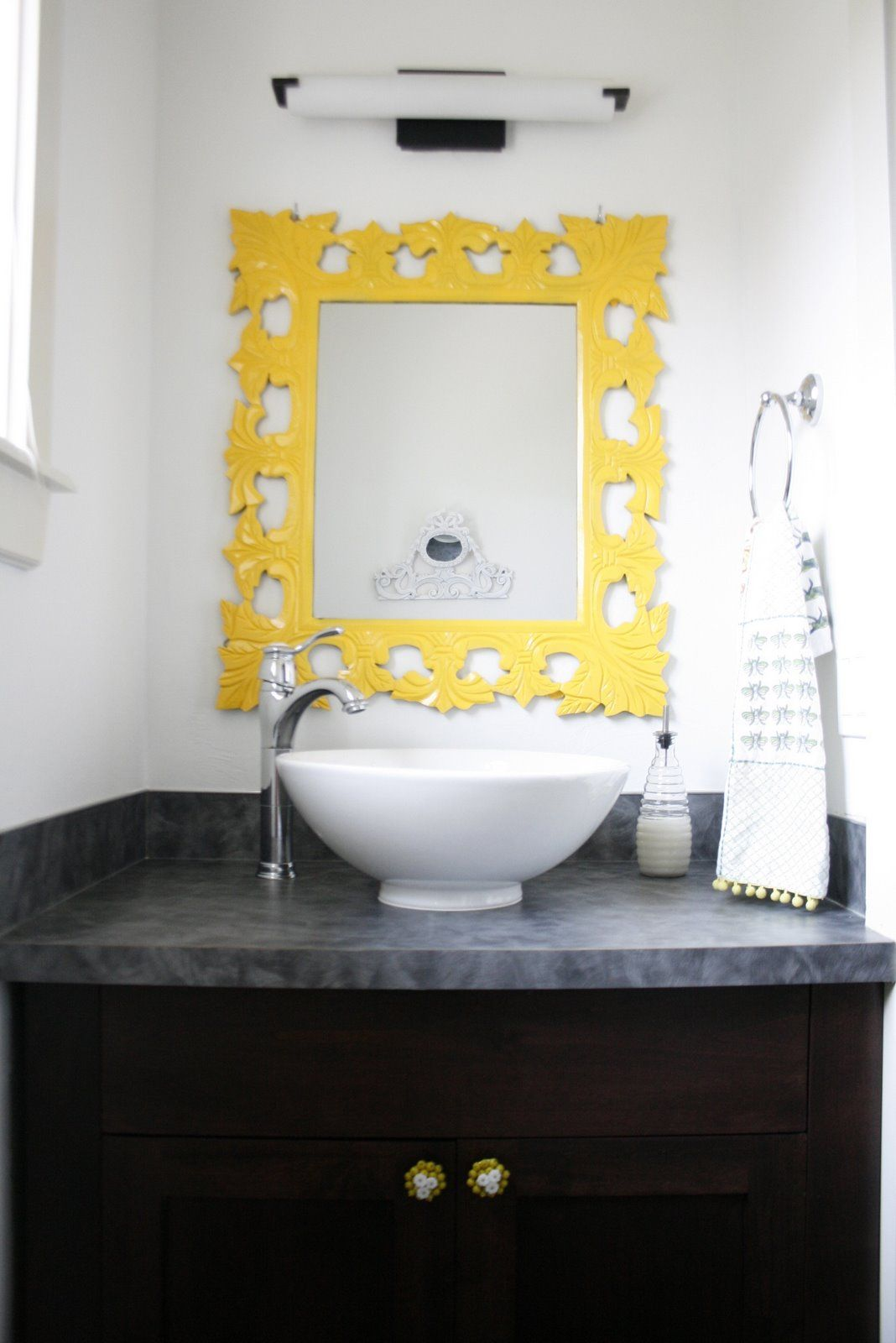 A Sun Yellow mirror is the perfect way to liven up a white bathroom ...